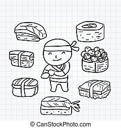 garçon, ligne, sushi, art, griffonnage