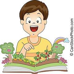 garçon, livre, jardin, illustration, gosse