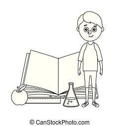 garçon, livre, jeune, science