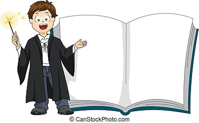 garçon, livre, magie