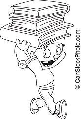 garçon, livres, esquissé