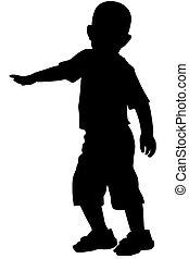 garçon, mains, silhouette, élevé, sien, haut