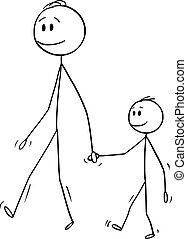 garçon, marche, ou, père, ensemble, fils, vecteur, petit, dessin animé, homme