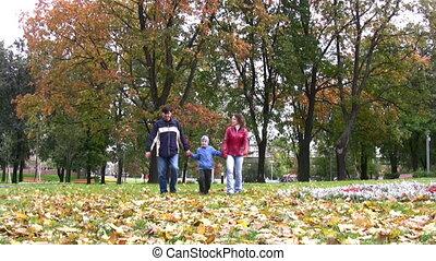 garçon, marche, parc, famille