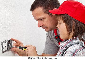 garçon, mur, fixer, rencontre, comment, électrique, apprentissage