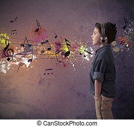 garçon, musique, jeune, écoute