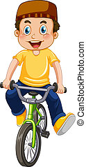 garçon, musulman, équitation bicyclette
