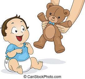 garçon, ours, teddy