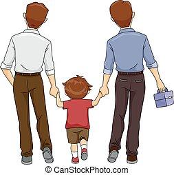 garçon, pères, gosse, deux, promenade