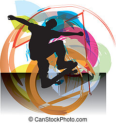 garçon, patineur, illustration