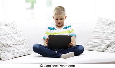 garçon, pc tablette, informatique, maison, sourire