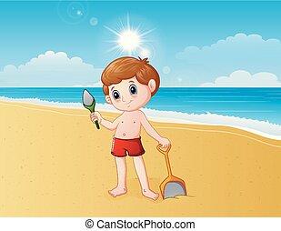 garçon, pelle sable, jouer