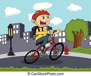garçon, peu, équitation bicyclette