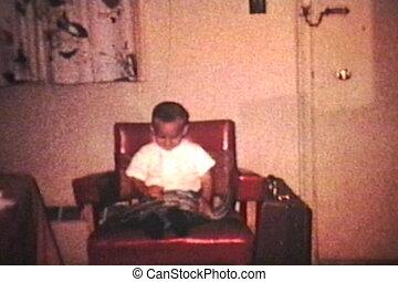 garçon, peu, (1964), appareil photo, vagues