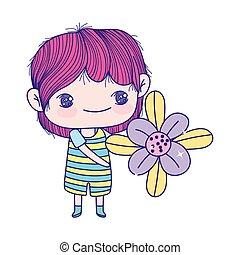 garçon, peu, beau, mignon, avoirs fleurissent, dessin animé