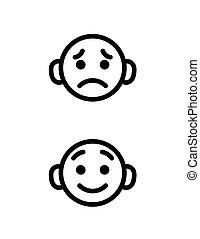 garçon, peu, contour, icônes, isolated., set., heureux, tête, collection, triste, vecteur, moods., sourire, emoji, dessin animé, différent