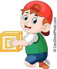 garçon, peu, cube, tenue, alphabet