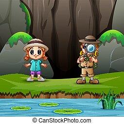 garçon, peu, explorateur, girl, nature