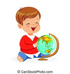 garçon, peu, globe., coloré, séance, caractère, illustration, dessin animé, vecteur, apprentissage, enfant, mondiale, sourire, jouer