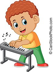 garçon, peu, heureux, piano joue