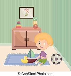 garçon, peu, jouer, salle, jouets
