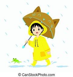 garçon, peu, marche, pluie, sous