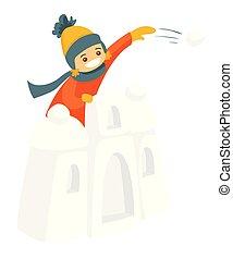 garçon, peu, neige, boule de neige, fight., château, jouer