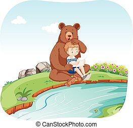 garçon, peu, rivière, ours, séance