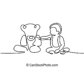 garçon, peu, séance, ours, teddy