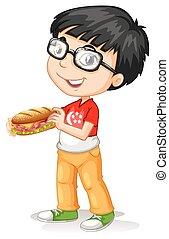 garçon, peu, sandwichs, tenue