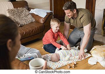 garçon, peu, sien, été établi, frère, bébé