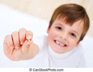 garçon, peu, sien, projection, main, milk-tooth