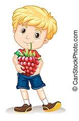 garçon, peu, tenue, rasberry