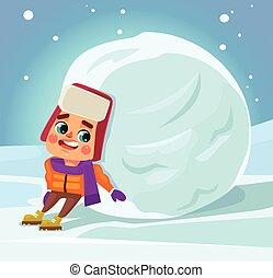 garçon, peu, vecteur, plat, faire, caractère, illustration, snowman., dessin animé