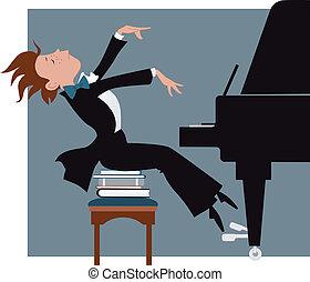 garçon, piano joue