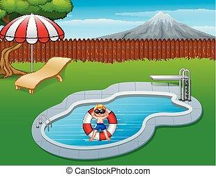 garçon piscine, gonflable, flotter, anneau