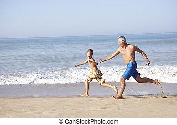 garçon, plage, chasser, jeune, grand-père