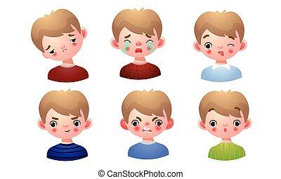 garçon, plat, facial, vecteur, ensemble, illustration, différent, dessin animé, expressions., style.