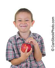 garçon, pomme