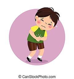 garçon, problèmes, illustration, souffrance, vecteur, concept., peu, stomachache., santé