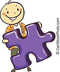 garçon, puzzle, crosse, tenue, morceau, homme