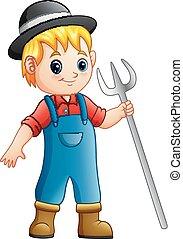 garçon, râteau, dessin animé, tenue, paysan