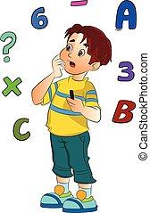 garçon, résolvant problème, math, illustration