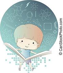 garçon, science, illustration, livre, physique, gosse