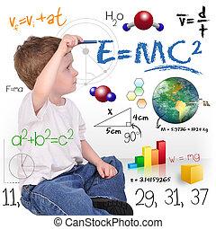 garçon, science, jeune, écriture, génie, math