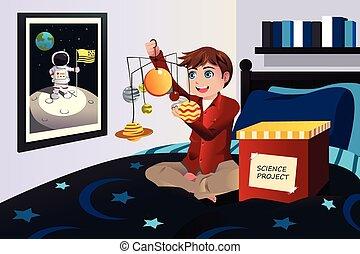 garçon, science, système, projet, solaire, confection