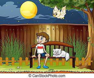 garçon, sien, barrière, séance, intérieur, chat