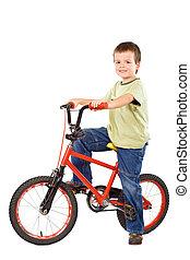 garçon, sien, bien-aimé, vélo, heureux