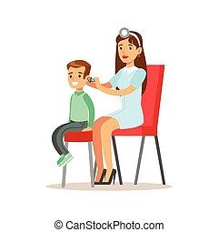 garçon, sien, docteur féminin, vérification, examen médical, pédiatre, bilan santé, santé, oreilles, inspection, pré-école, physique
