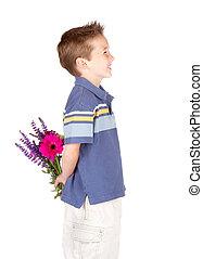 garçon, sien, jeune, dos, derrière, fleurs